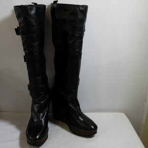 Yves Saint Laurent Black Wedge Boots Size 39B